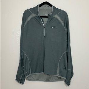 Green gray Nike 1/4 zip long sleeve Dri-fit XL